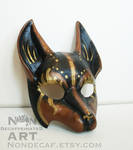 Black Brown and Gold Kitsune Fox mask