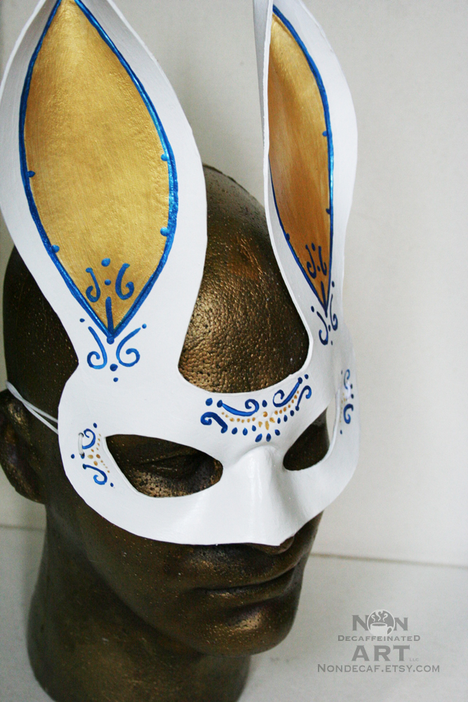 Fancy Bunny Handmade Leather Mask by nondecaf