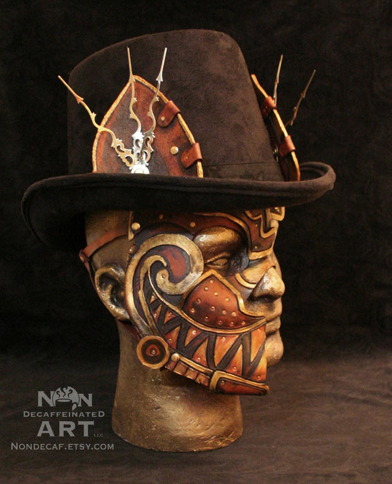 Steampunk Cheshire Cat Half Mask with Ears by nondecaf