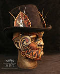 Steampunk Cheshire Cat Half Mask with Ears