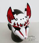 Red white and black kitsune mask