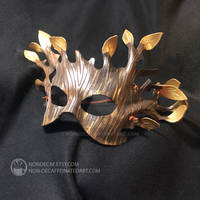 Golden Leather Greenman Fairy Mask