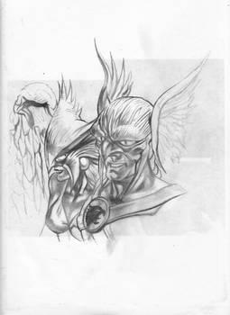 Hawkman e HawkGirl second pencil sketch