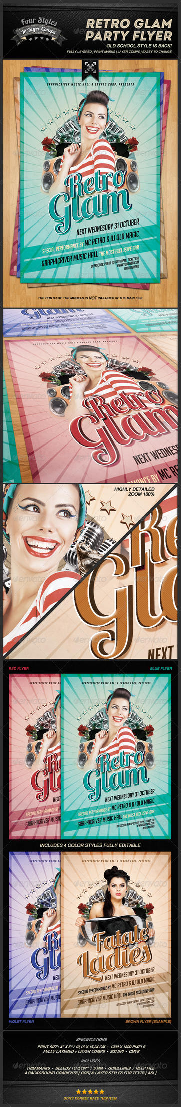 GraphicRiver - Retro Glam Party Flyer by lhexificator