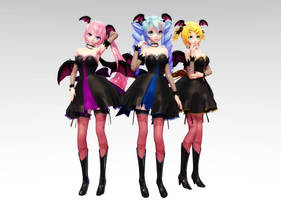 TDA Succubus Miku, Luka, Rin DL by Skary66