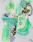 Green mixed media flower abstraction