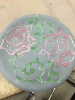 small rose ceramic plate by ftsoul