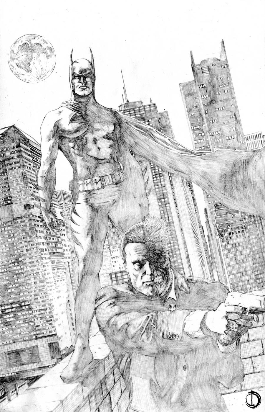 Batman and Two Face by santiagocomics