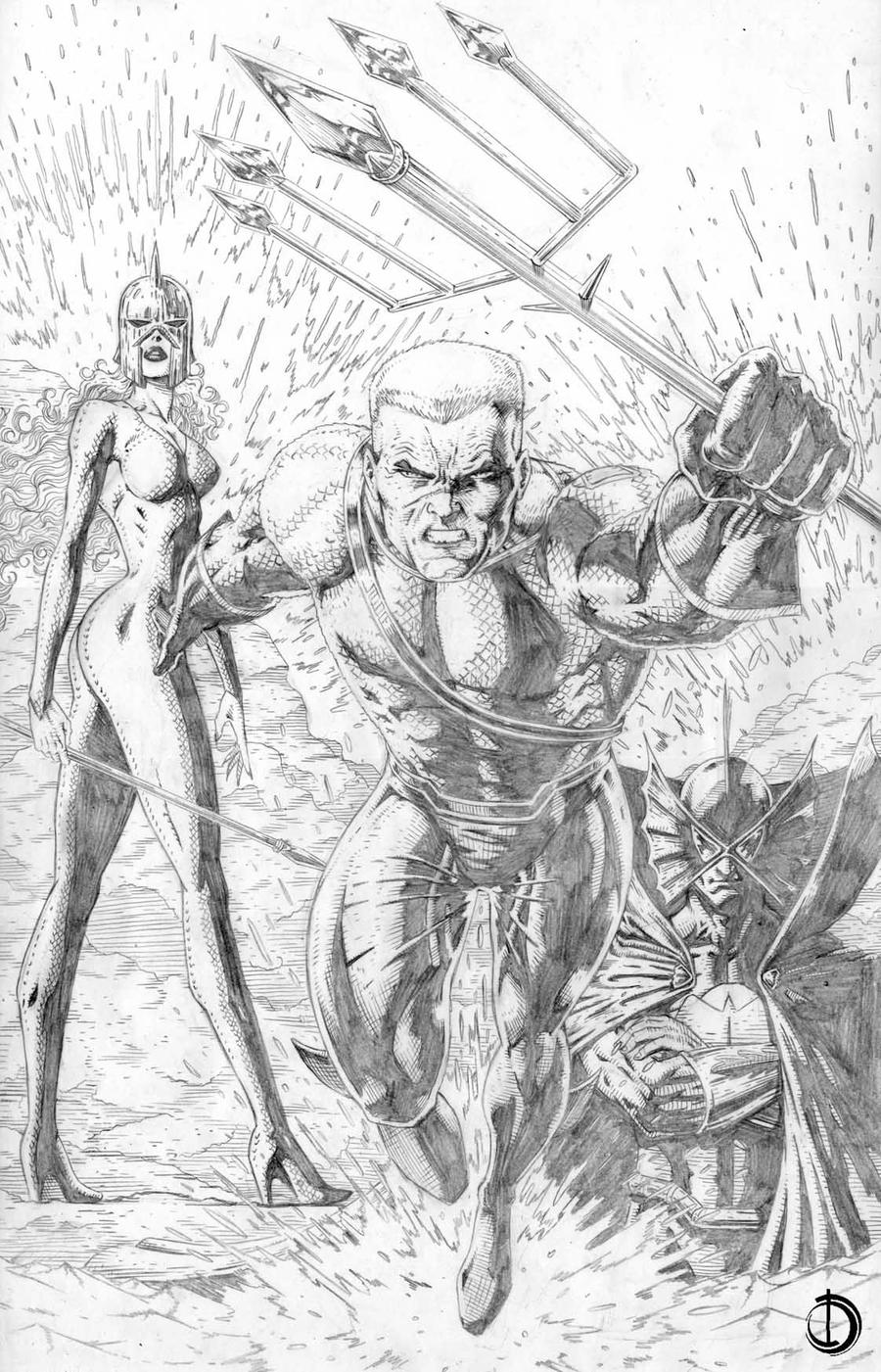 Aquaman Pin-up by santiagocomics