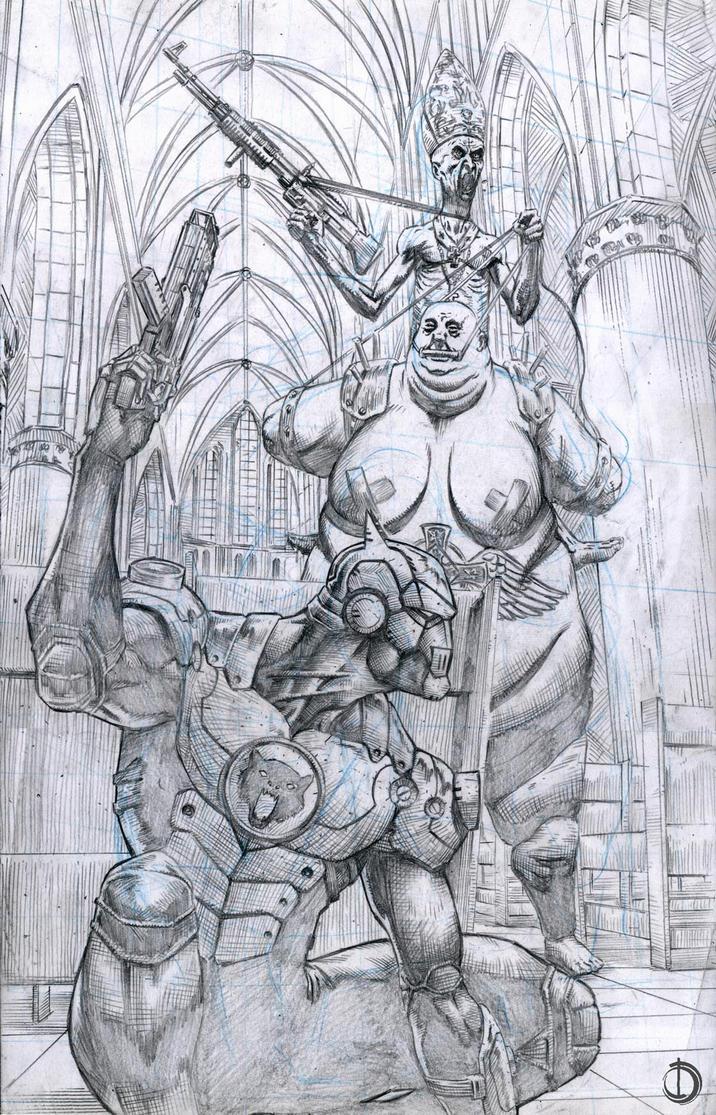 Iron Wolf Pin-up by santiagocomics