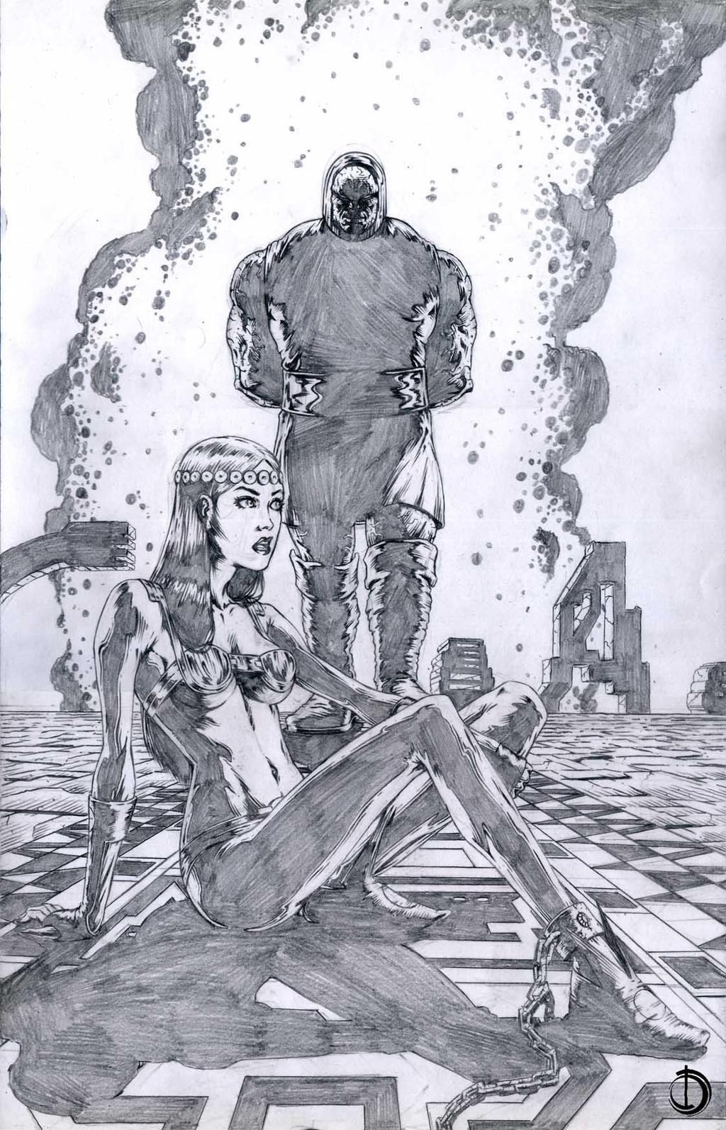 SanEspina Darkseid and Barda Pin-up by santiagocomics