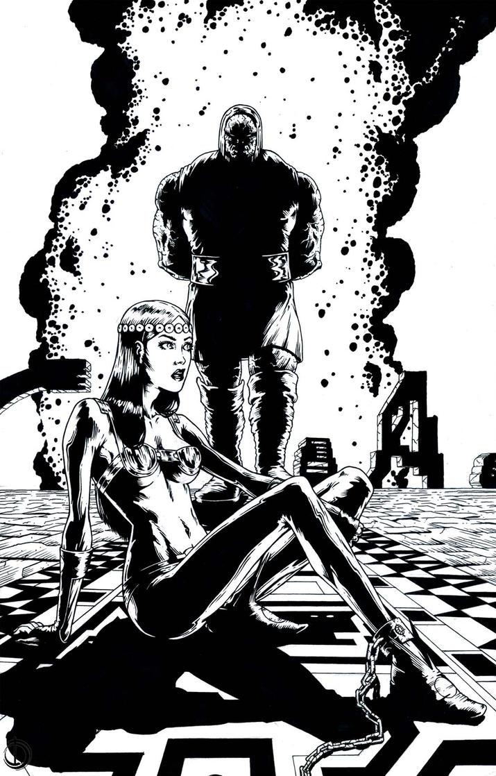 SanEspina Darkseid and Barda Pin-up Ink by santiagocomics