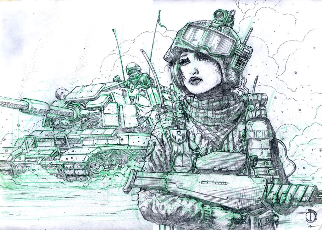 SanEspina Desert girl pencils by santiagocomics
