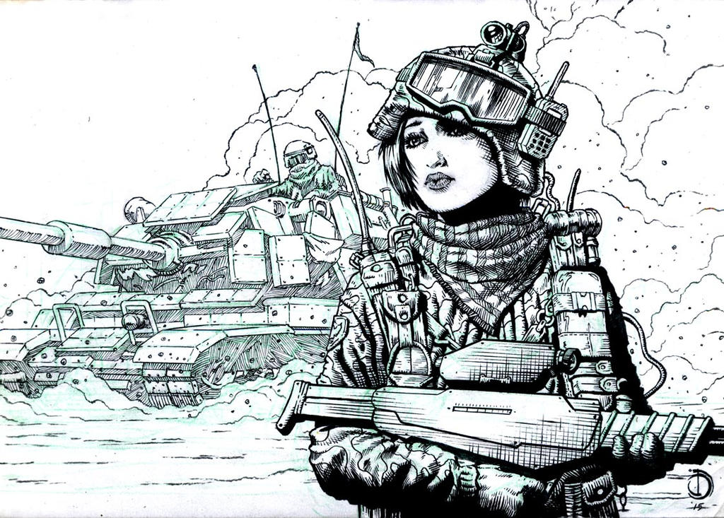 SanEspina Desert girl ink by santiagocomics