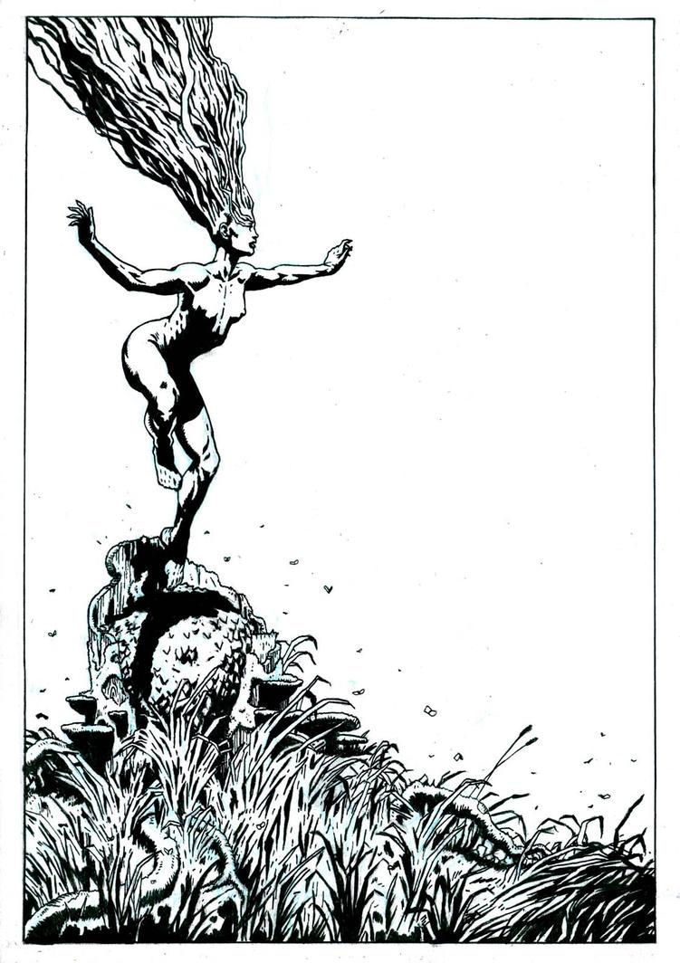 SanEspina BlackOrchid cover inks by santiagocomics