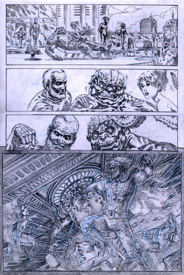 SanEspina JupiterLegacy Page1 pencils by santiagocomics