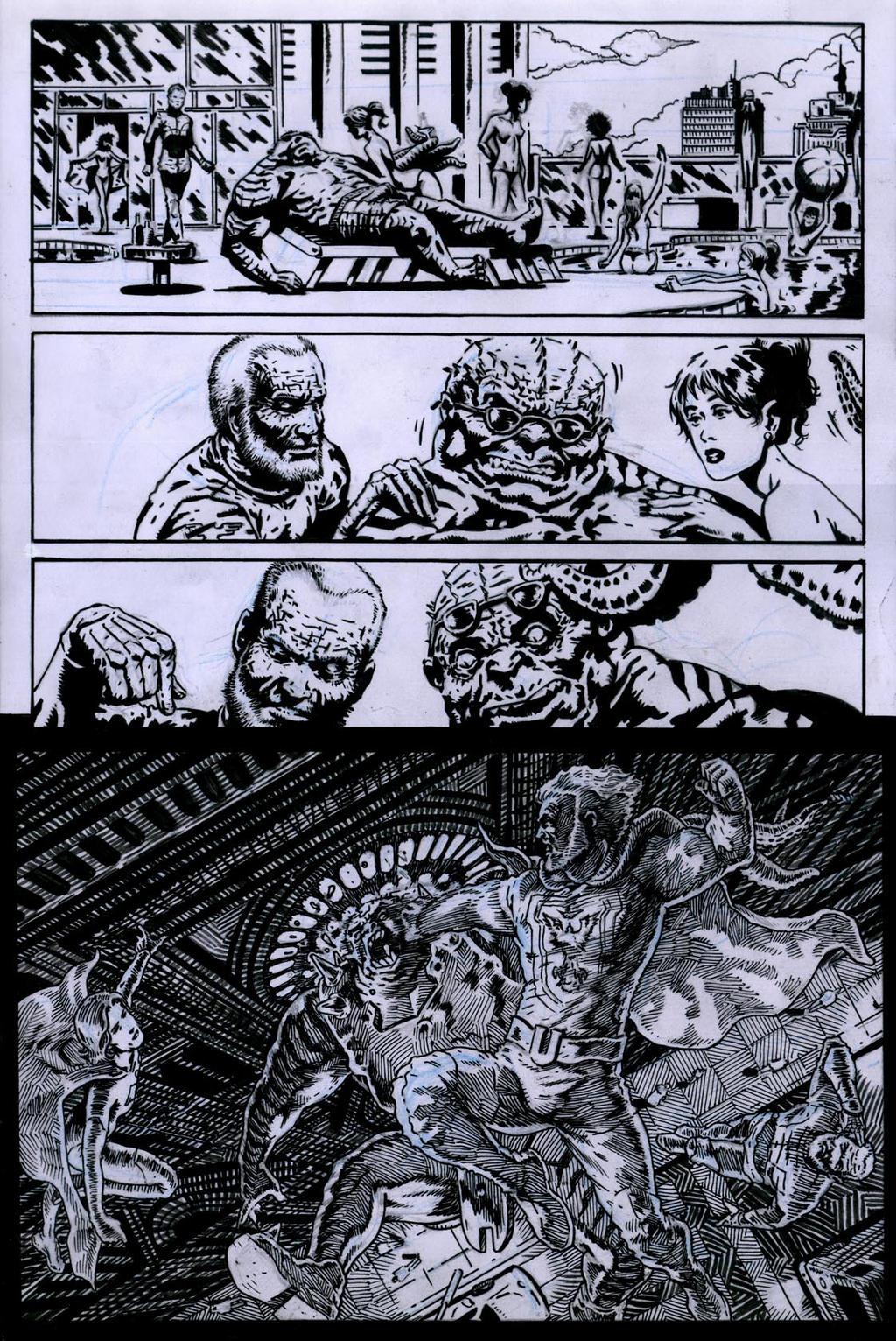 SanEspina JupiterLegacy Page1 ink by santiagocomics