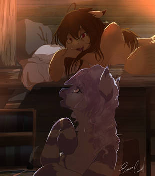 Sleepover: Compass Rose and Shidare by SakuraCheetah