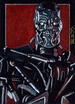 T-600 -Terminator Sketch Card by J-Redd