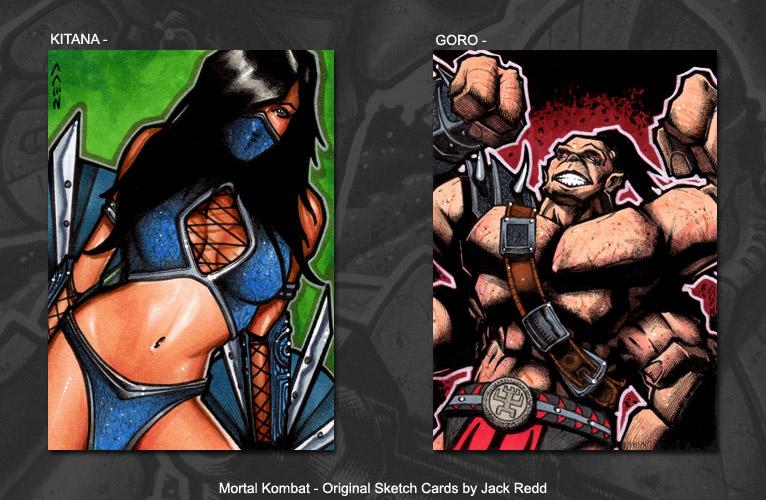 Kitana and Goro - Mortal Kombat sketch cards by J-Redd on