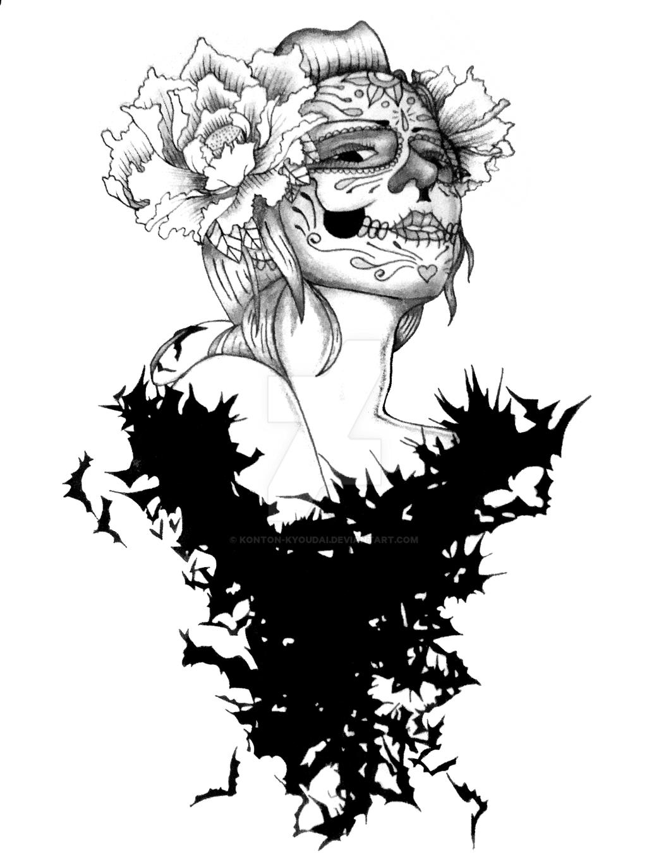sugar skull with bats tattoo by konton kyoudai on deviantart. Black Bedroom Furniture Sets. Home Design Ideas