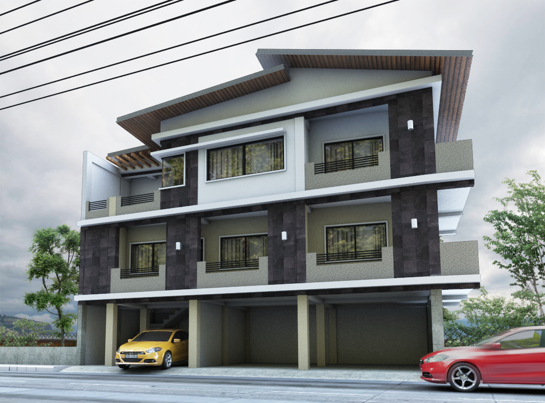 Three storey commercial residential building by sfguzmani for 3 storey commercial building design