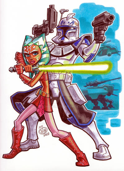 Ahsoka Tano and Captain Rex by Chad73