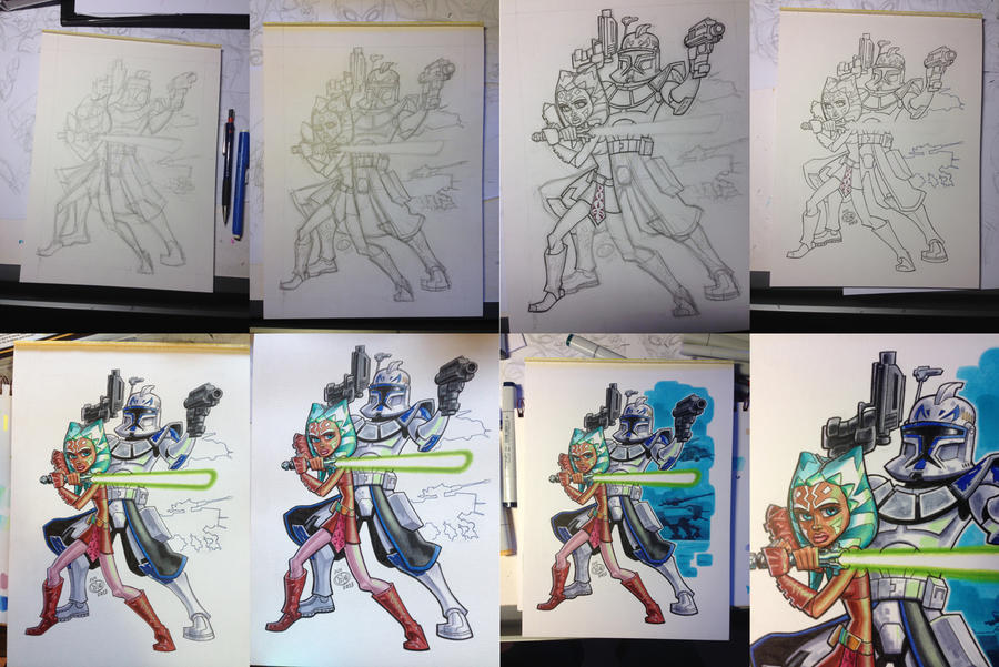 Ahsoka and Rex process by Chad73