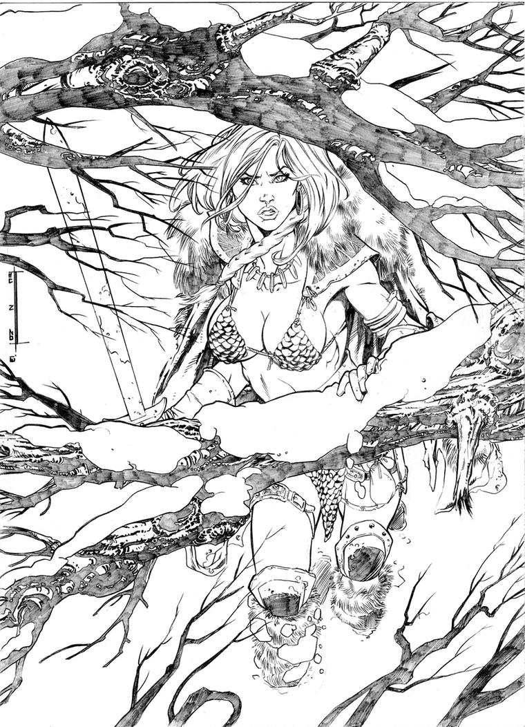 Red Sonja tribute by enzoacunzo