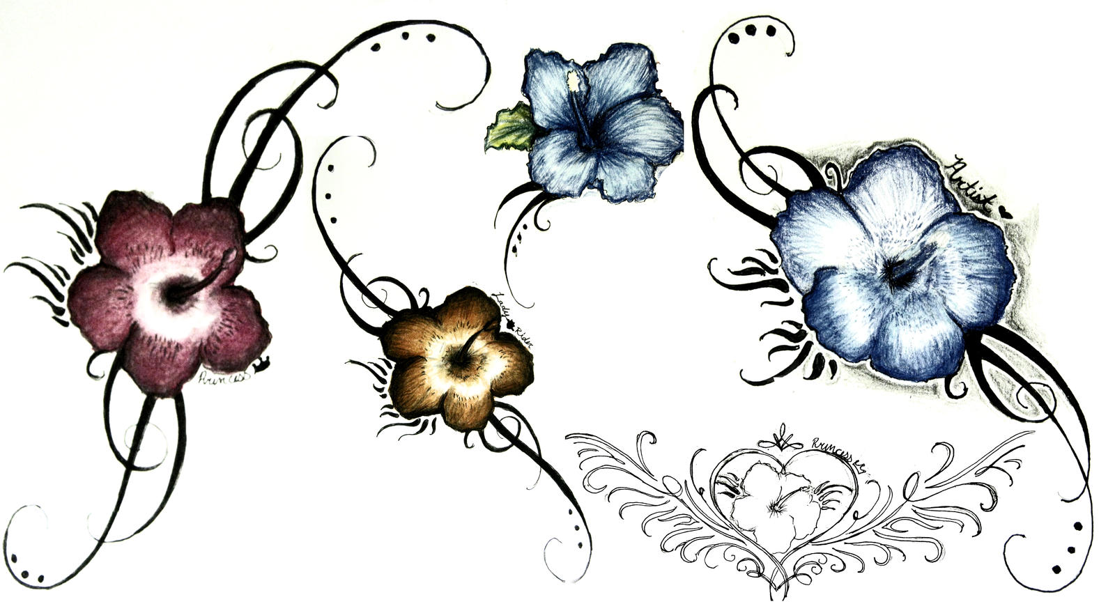 Hibiscus Flower Tattoo Stencil: Hibiscus Tattoo Design Collection By Pictrixel On DeviantArt