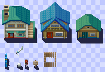 New Bark Town Tileset B/W Style by Sihlas