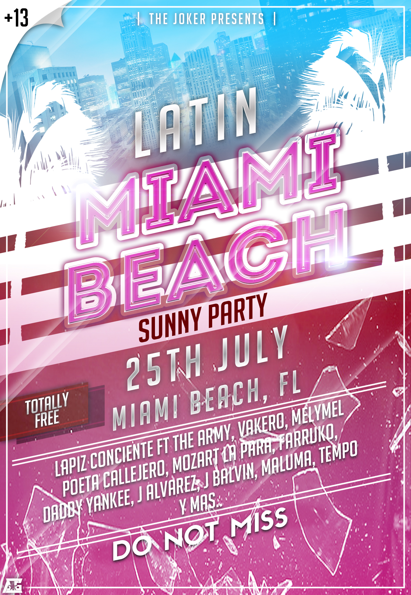 Latin Miami Beach Sunny Party Flyer By Alberto44
