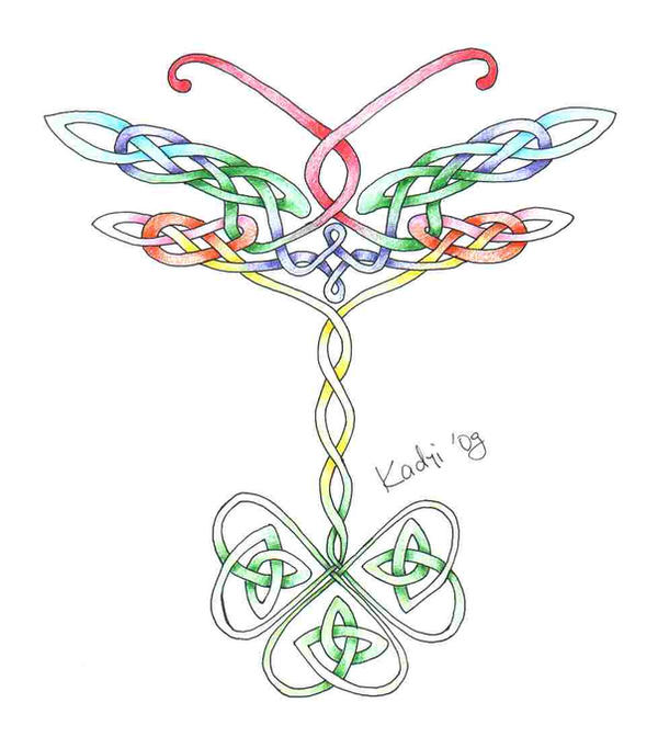 Dragonfly and clover tattoo - dragonfly tattoo