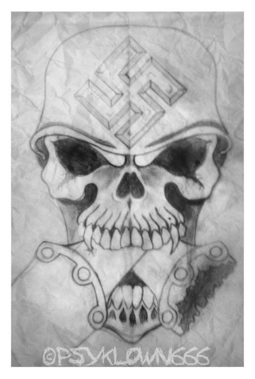 nazi skull by psyklown666 on deviantart. Black Bedroom Furniture Sets. Home Design Ideas
