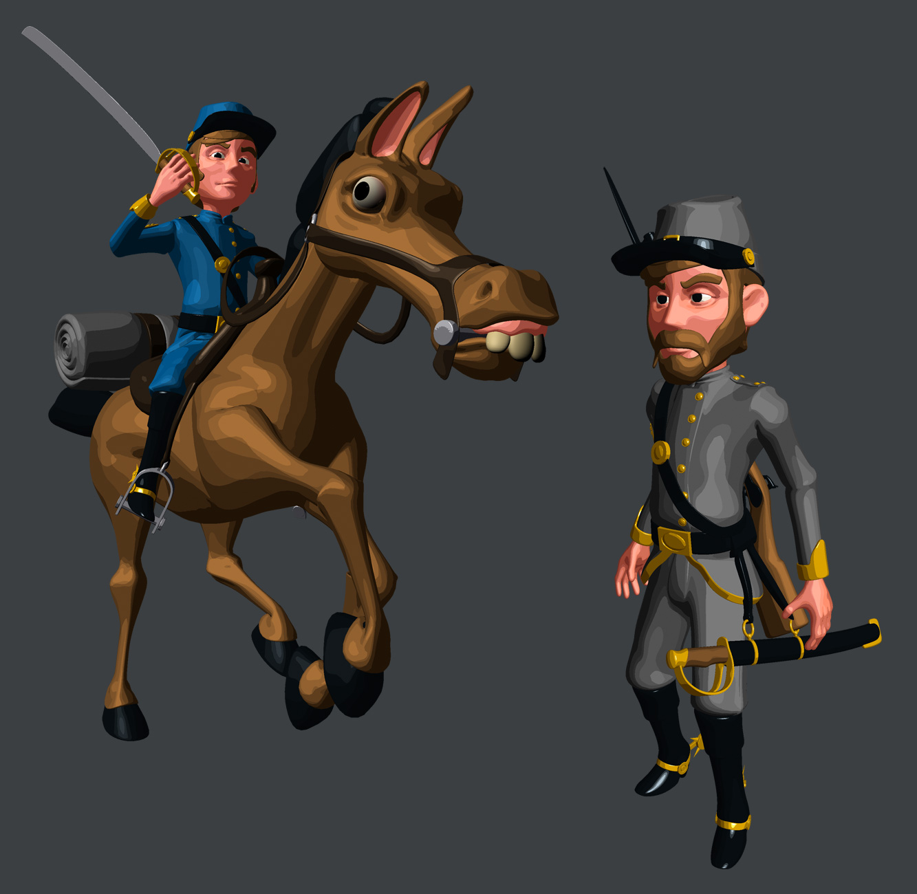 North and South soldiers by plastictrash