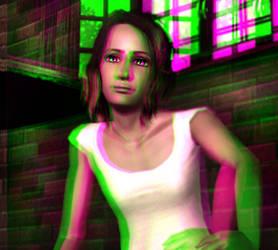 Candi at Rest 3D Green-Magenta by BulldozerIvan