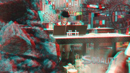 Imaki Studies the Radio Feed Wallpaper 3D Red-Cyan by BulldozerIvan