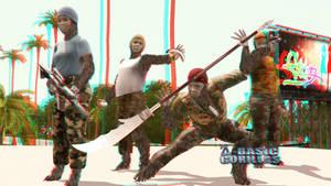Q-Basic Gorillas Topaz Div Wallpaper 3D Red-Cyan