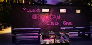Modern Grillitan Diner Sign for Sims 4