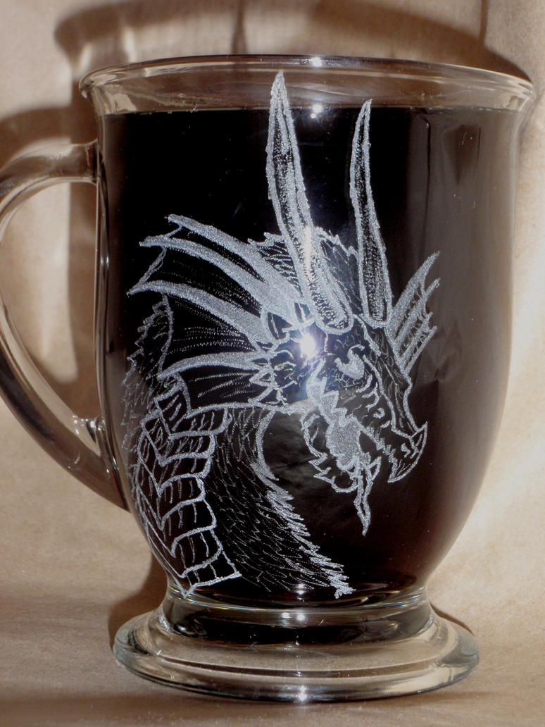 etched dragon coffee mug by punkpiper on deviantart