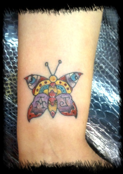 Old school memorial butterfly by bmxninja on deviantart for Butterfly memorial tattoos