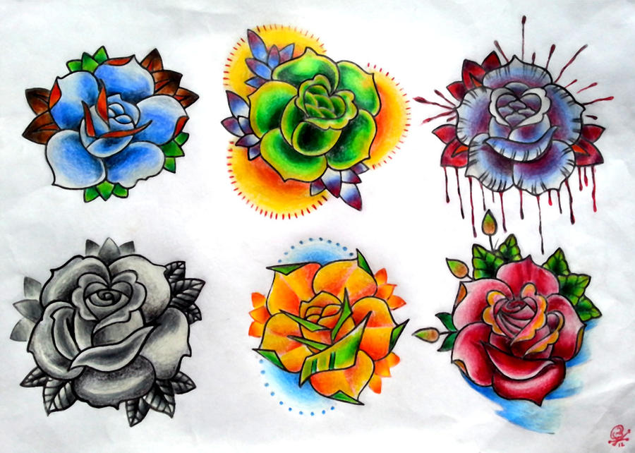 Traditional Rose Tattoo Flash Roses flash by bmxninjaNeo Traditional Rose Flash