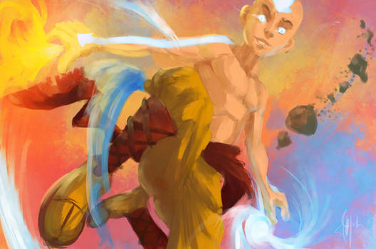 Aang, in avatar mode