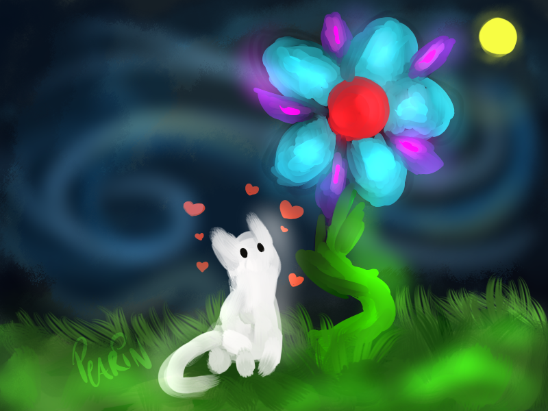 When you give a Cat a Flower by Pearin on DeviantArt