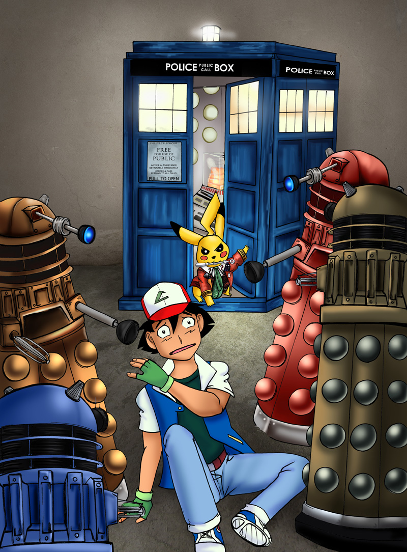 Dr Pikachu and Ash vs Daleks by arania