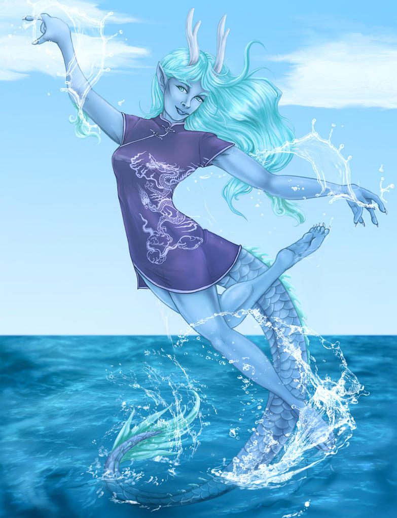 Asianwaterdragongirl by arania
