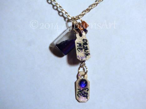 OOAK Alice in Wonderland Necklace, Drink Me Bottle
