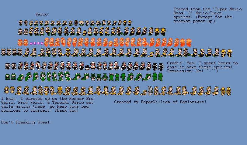 Custom Wario (Super Mario Bros. 3) Sprites by PaperWilliam ...