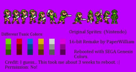 Custom SMBX Link Sprites (Sega Genesis style) by PaperWilliam