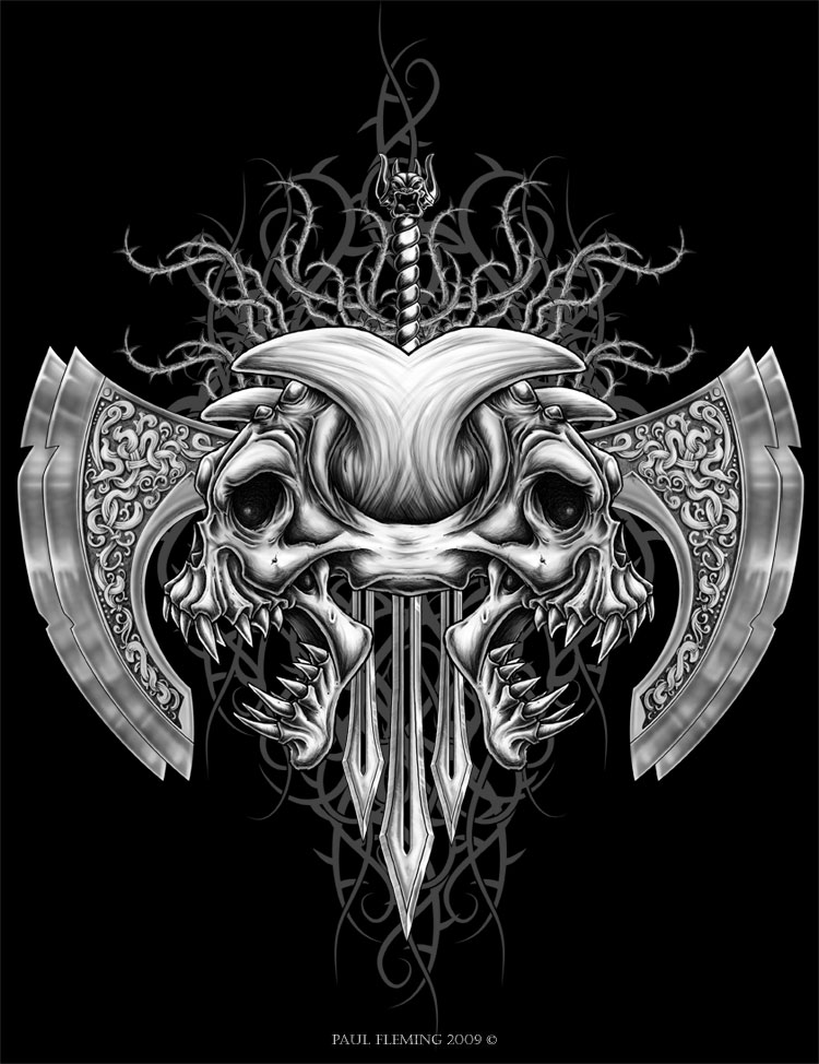 Tribal demon skull by oblivion design on deviantart - Devil skull wallpaper ...